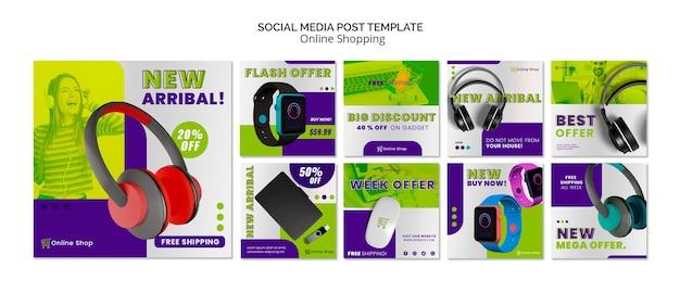 ソーシャルメディア投稿テンプレートデバイスオンラインショッピング