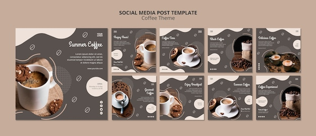 Кофейня концепция социальных медиа пост шаблон
