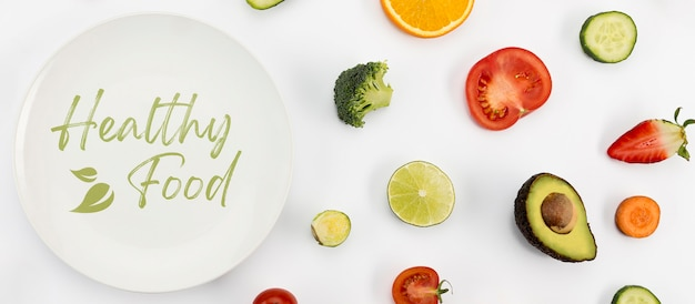 有機食品フラットレイアウトの健康的なライフスタイル