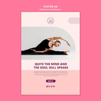 Шаблон плаката медитации и йоги