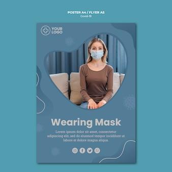 Флаер концепции коронавируса маски женщины нося