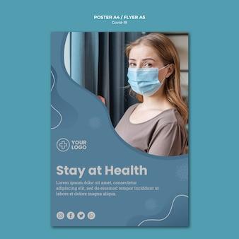 Пребывание дома коронавирусный концептуальный плакат