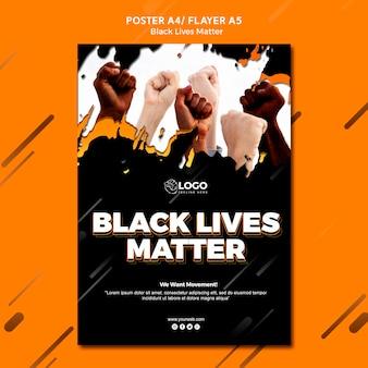 黒の生活問題ポスターテンプレート