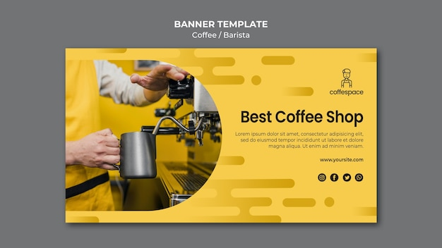 Шаблон баннера концепции кофе