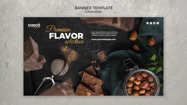 Шоколадная концепция баннер шаблон