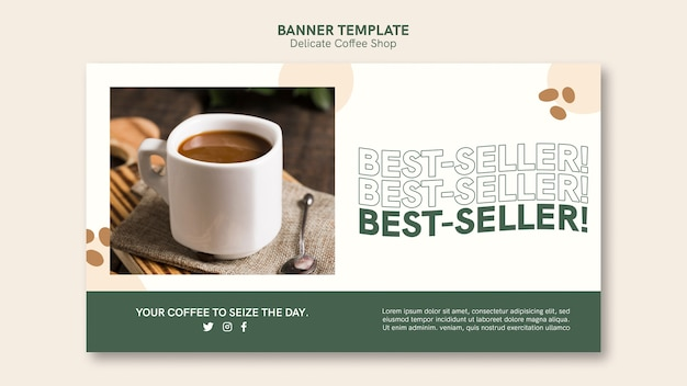 Нежный дизайн баннера для кафе