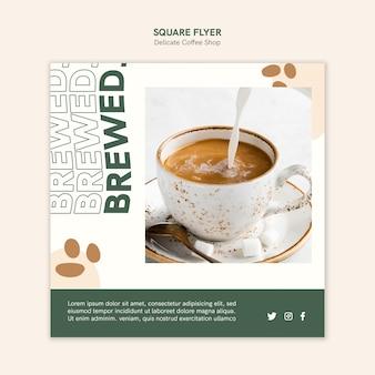 繊細なコーヒーショップの正方形のチラシ