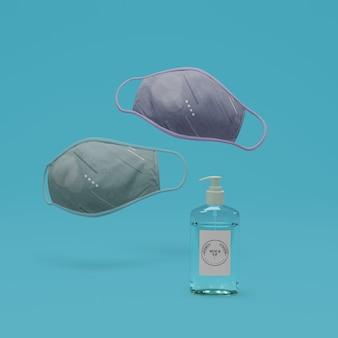 Ручные маски для лица и дезинфицирующее средство для рук с макетом