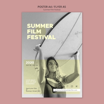 Шаблон плаката летнего кинофестиваля