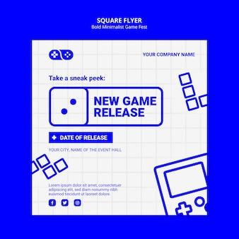 新しいゲームリリースフェストスクエアチラシテンプレート