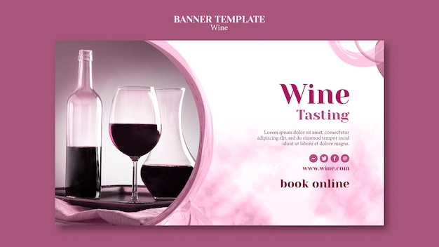 ワインの試飲用のバナーテンプレート