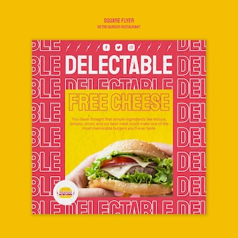 レトロなハンバーガーレストランの正方形のチラシテンプレート