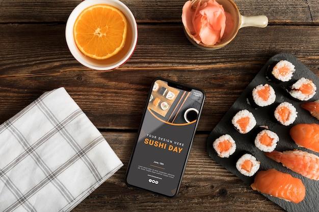 寿司フードメニューコンセプトのモックアップ