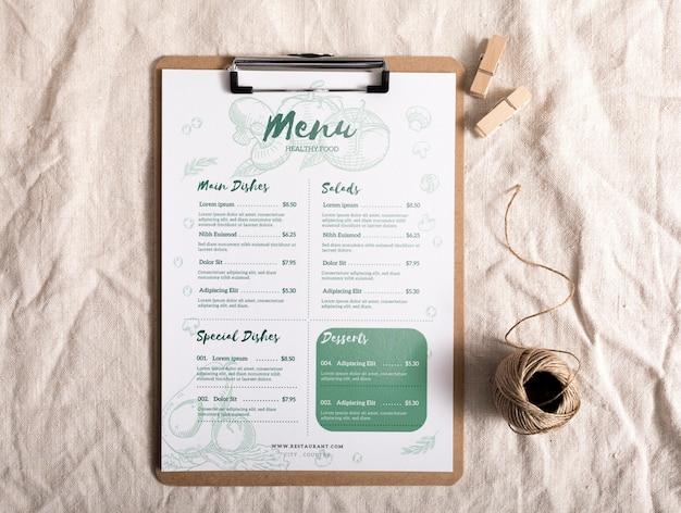 Макет концепции меню еды