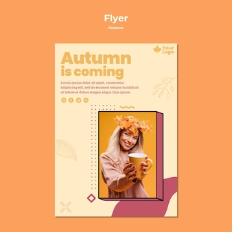 Осенняя концепция флаер шаблон