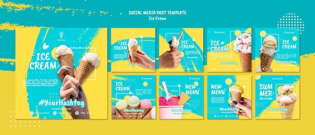Пост в социальных сетях с мороженым