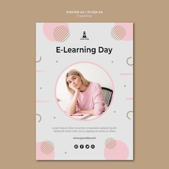 Концепция электронного обучения дизайна плаката