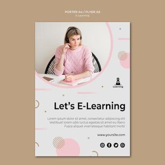 Концепция электронного обучения в стиле плаката