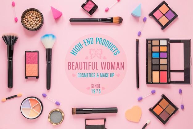 化粧品の配置のトップビュー