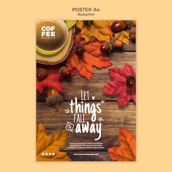 Осенний постер шаблон концепции