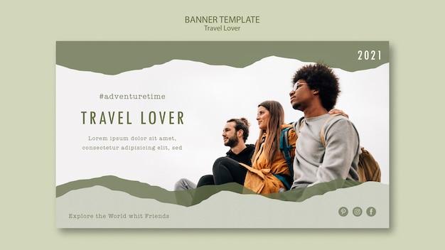 Шаблон горизонтального баннера для путешествий на свежем воздухе