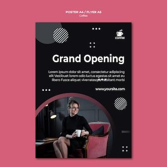 コーヒーショップオープニングポスターデザイン