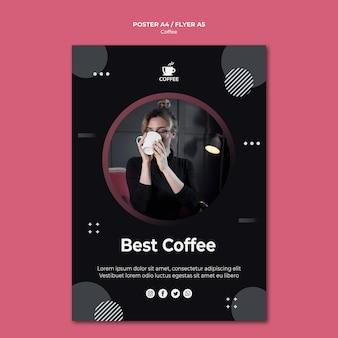最高のコーヒーコンセプトチラシデザイン
