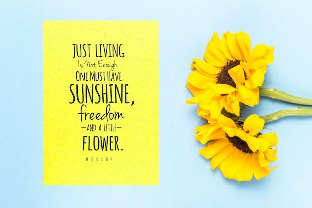 花とやる気を起こさせるメッセージ