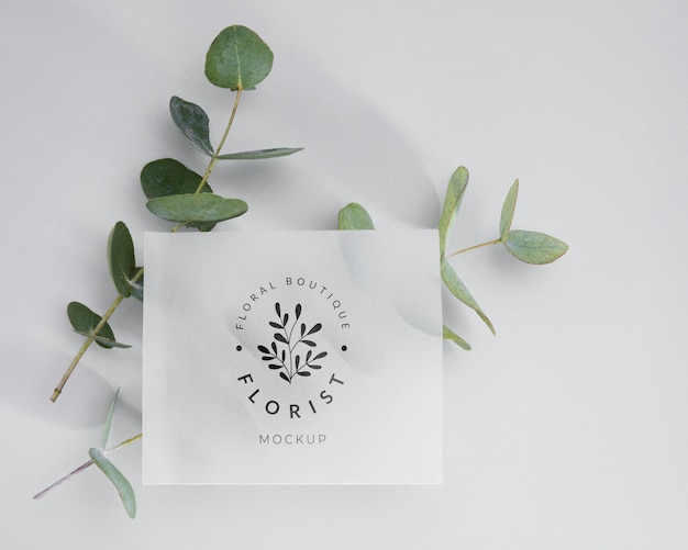 Вид сверху флорист концепт с макетом
