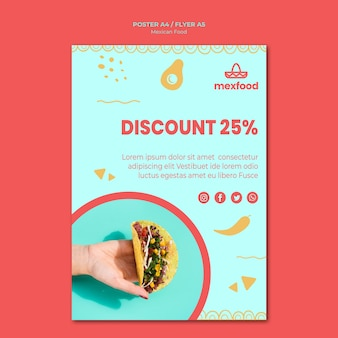 Мексиканская еда флаер шаблон с фото