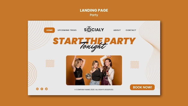 パーティーコンセプトのランディングページのスタイル
