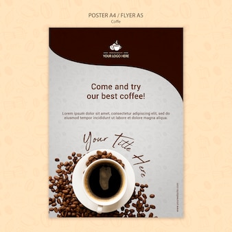 コーヒーコンセプトチラシデザイン