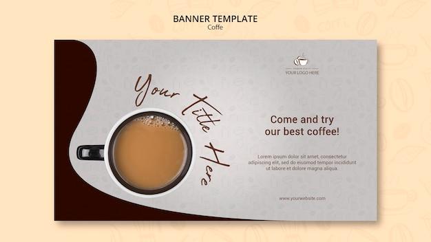 Шаблон горизонтального баннера концепции кофе
