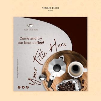 Кофейная концепция квадратный стиль флаера