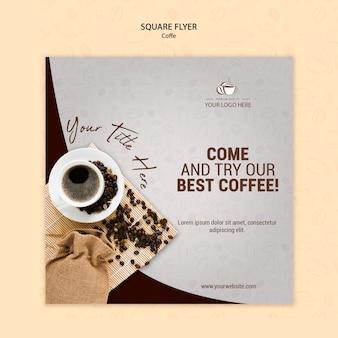 Кофейная концепция квадратный флаер шаблон