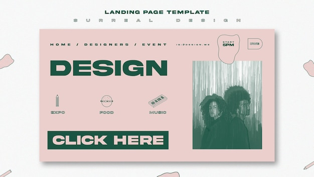 Шаблон целевой страницы сюрреалистический дизайн