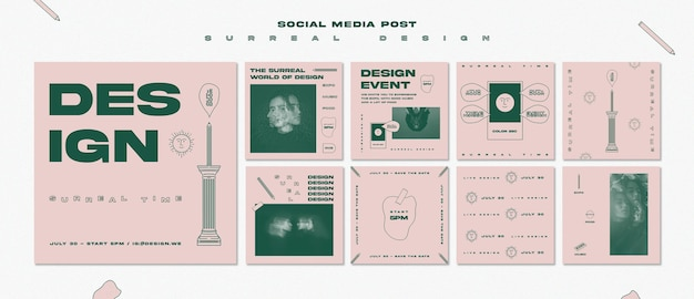 シュールなデザインのソーシャルメディアの投稿テンプレート