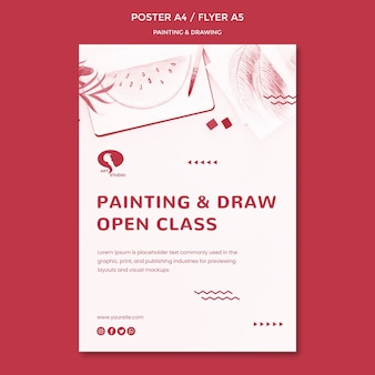 描画と絵画のポスターテンプレートのコース