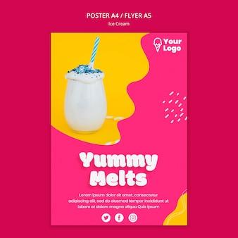 Вкусный тает мороженое постер шаблон