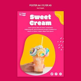 Шаблон плаката со сладким кремовым мороженым
