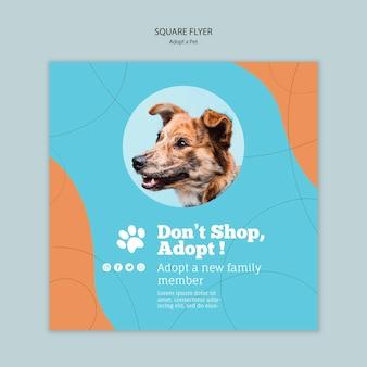 Принять шаблон квадратного флаера для животных