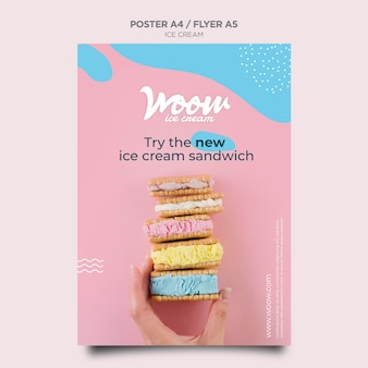 Шаблон флаера для магазина мороженого