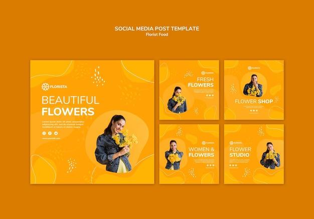 Флорист концепция социальных медиа пост