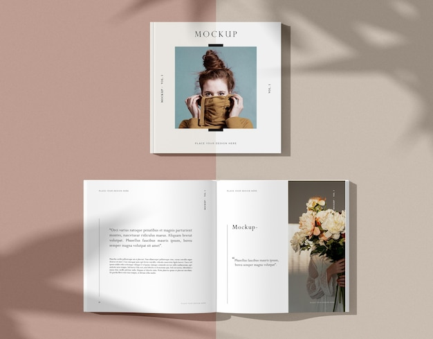 花と女性の編集誌のモックアップの花束