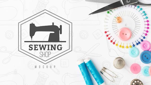 モックアップとトップビュー縫製コンセプト