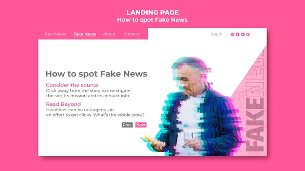 偽のニューススポッティング用のランディングページテンプレート