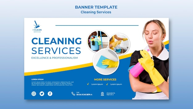 Шаблон баннера концепции уборки