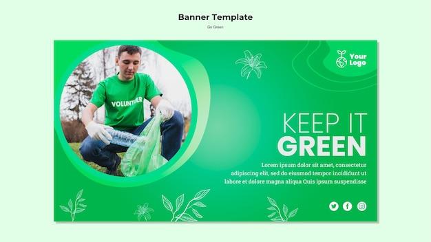緑のバナーテンプレートを保持します。