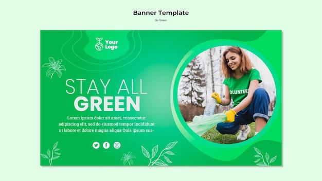 Оставайтесь все зеленые баннер шаблон