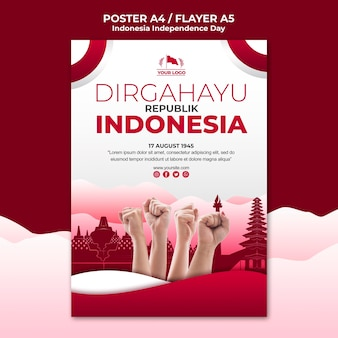 インドネシア独立記念日ポスターテンプレート